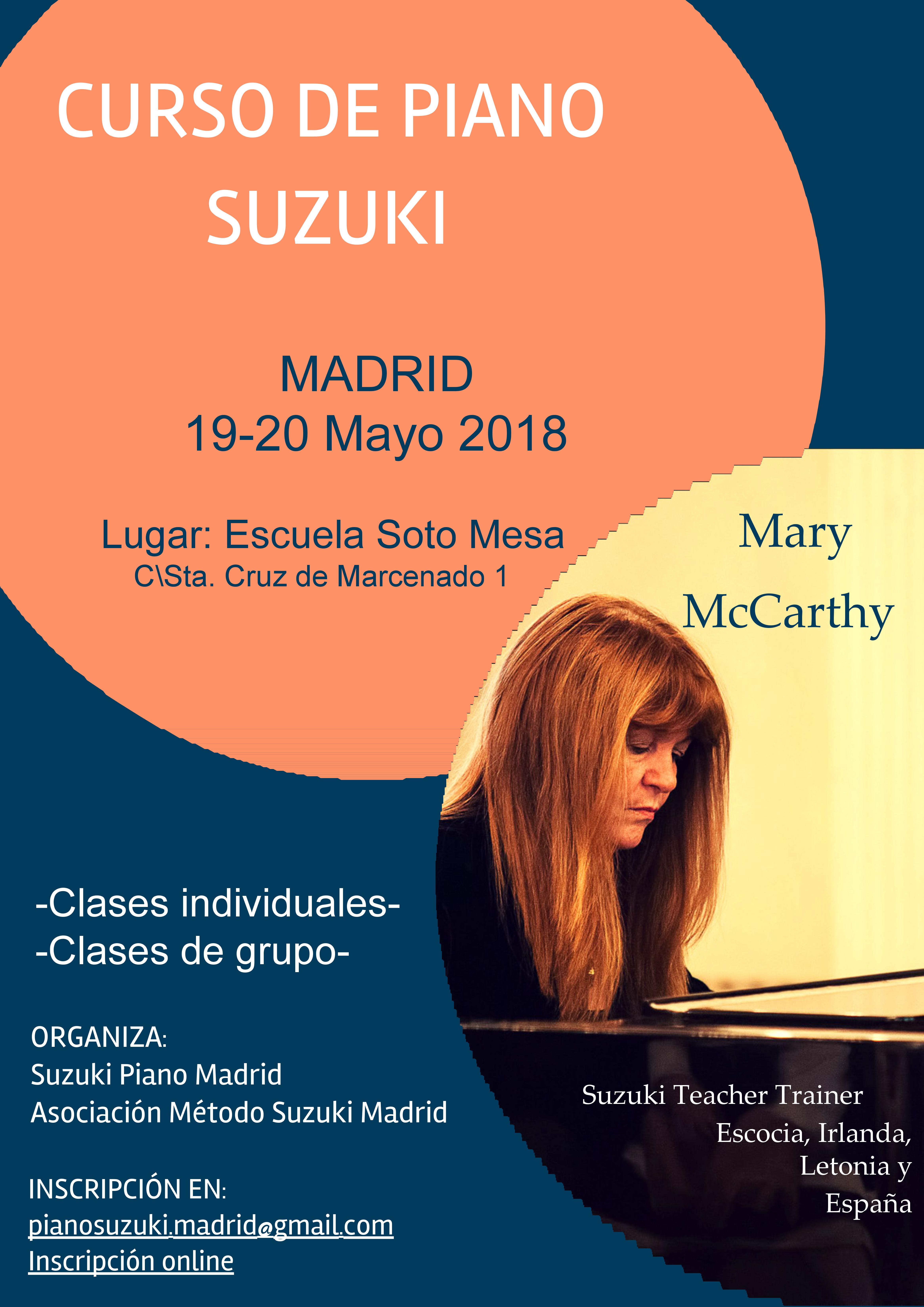Cartel Curso Suzuki Piano Course Madrid May 2018